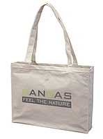 Canvas Shopperbag natur,2 lange Henkel, Querformat